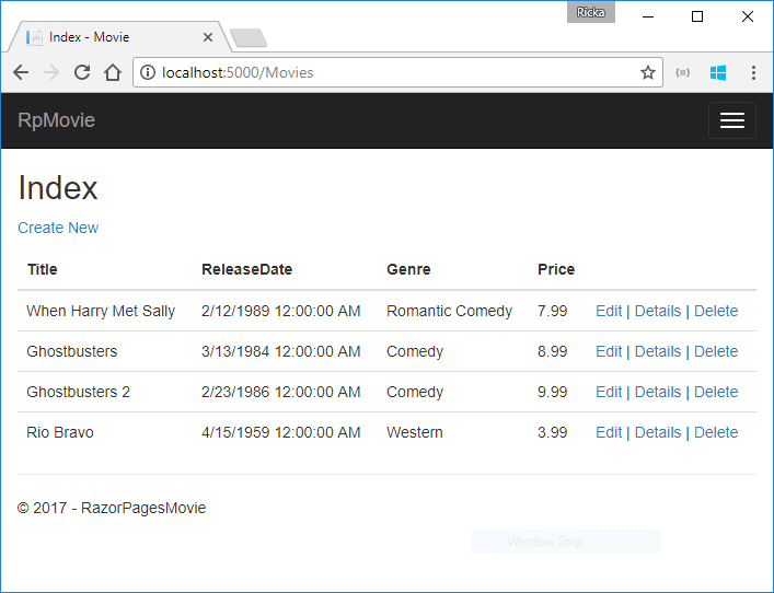 在 Chrome 中打开的显示电影数据的电影应用程序