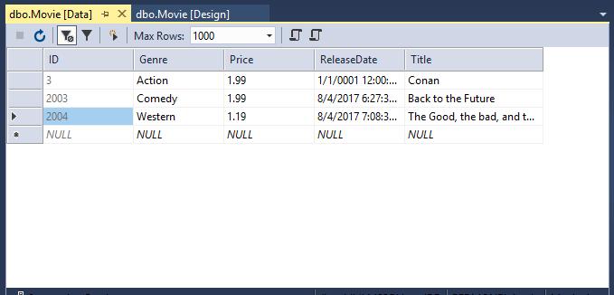 显示表数据的打开的 Movie 表