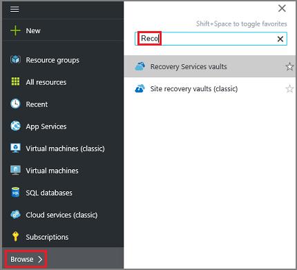"""Azure 门户""""浏览""""选项的屏幕截图"""