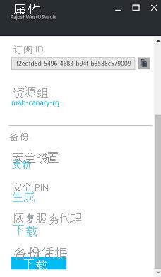 恢复服务保管库属性的屏幕截图