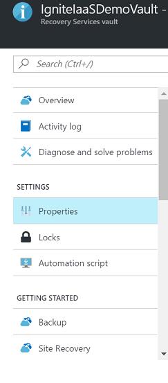 恢复服务保管库选项的屏幕截图