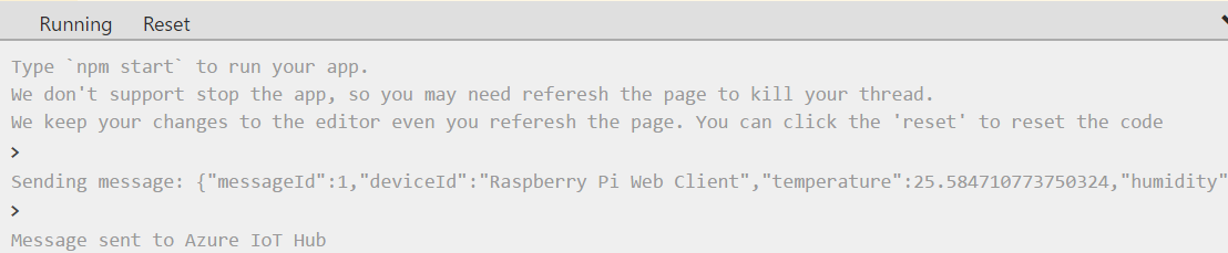 输出 - 从 Raspberry Pi 发送到 IoT 中心的传感器数据
