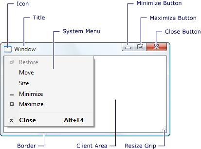 显示窗口元素的屏幕截图。
