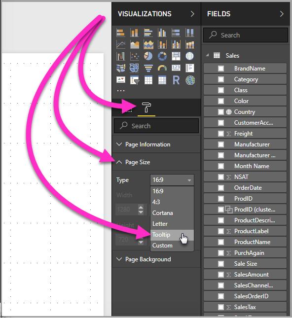 """针对现有工具提示,选择""""页面大小""""中的""""工具提示"""""""