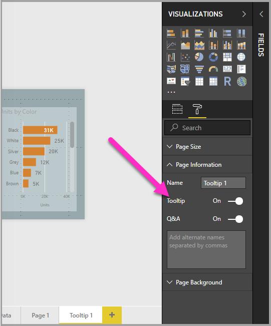 启用工具提示滑块,表示页已成为工具提示
