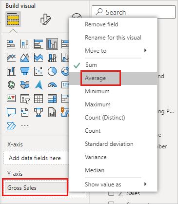 """突出显示""""总销售额""""和""""平均""""聚合的""""字段""""窗格屏幕截图。"""