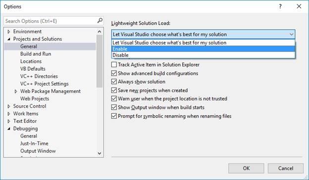 Lightweight Solution Load Options