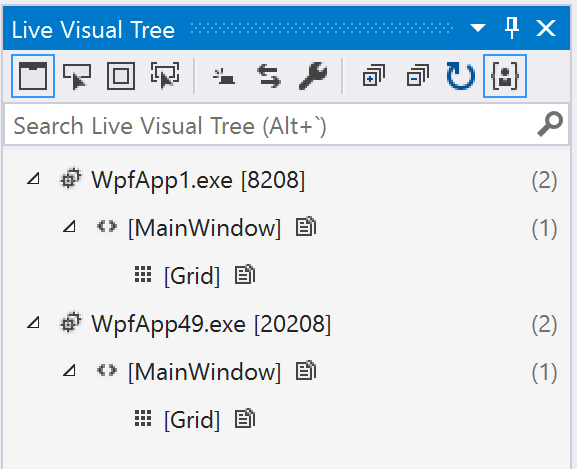 Live Visual Tree with multiple processes attached