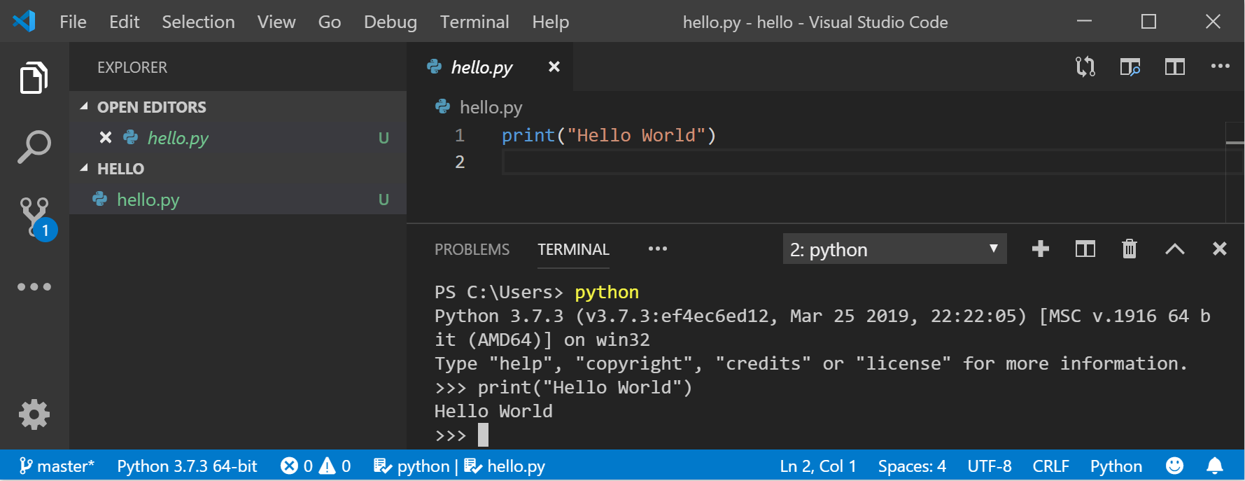 VS Code 中的 Python 命令行