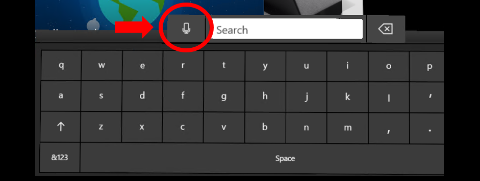 Voice dictation starts by selecting the microphone button