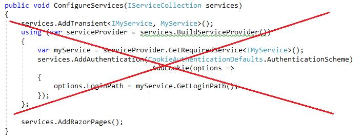 呼叫 BuildServiceProvider 的錯誤程式碼