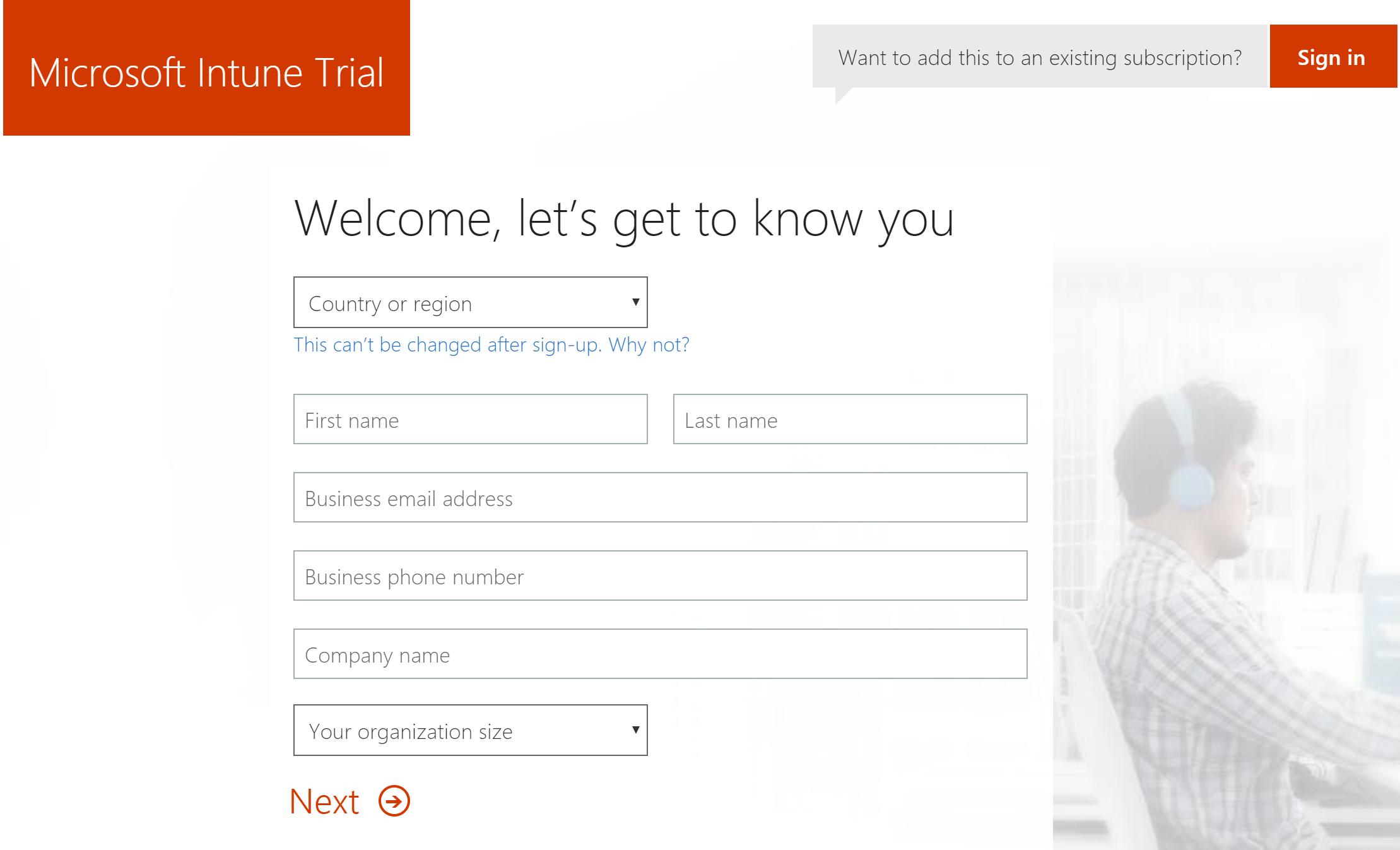 Microsoft Intune 試用帳戶註冊網頁的螢幕擷取畫面