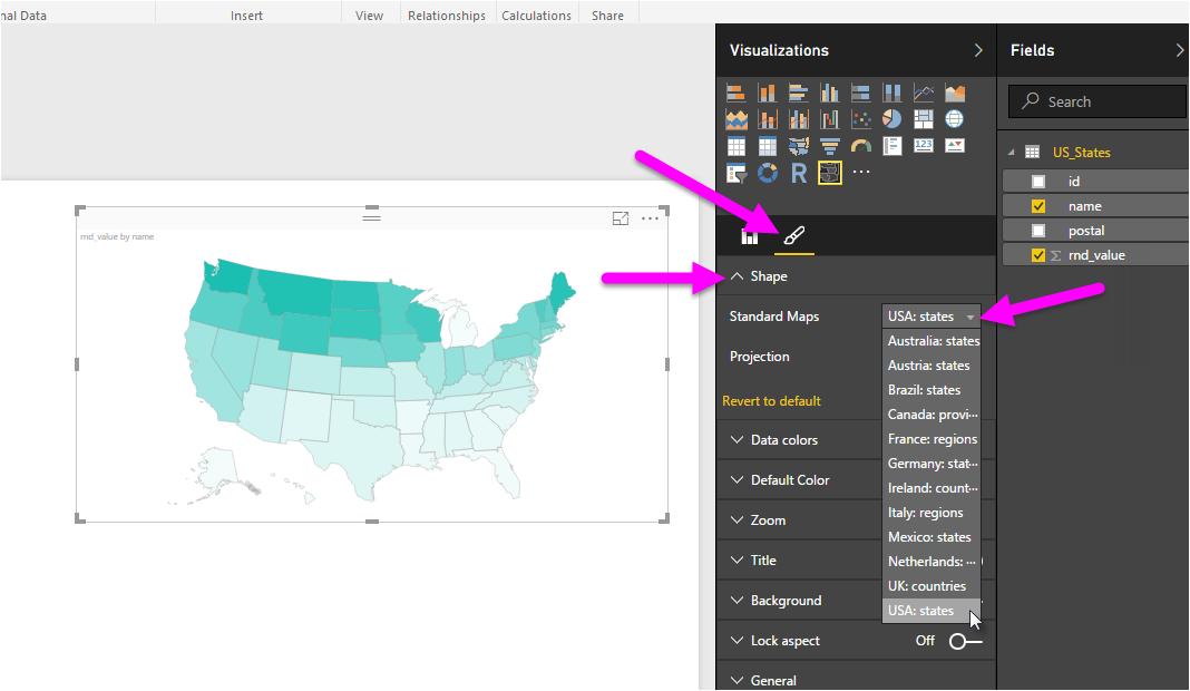 use shape maps in power bi desktop preview power bi microsoft docs
