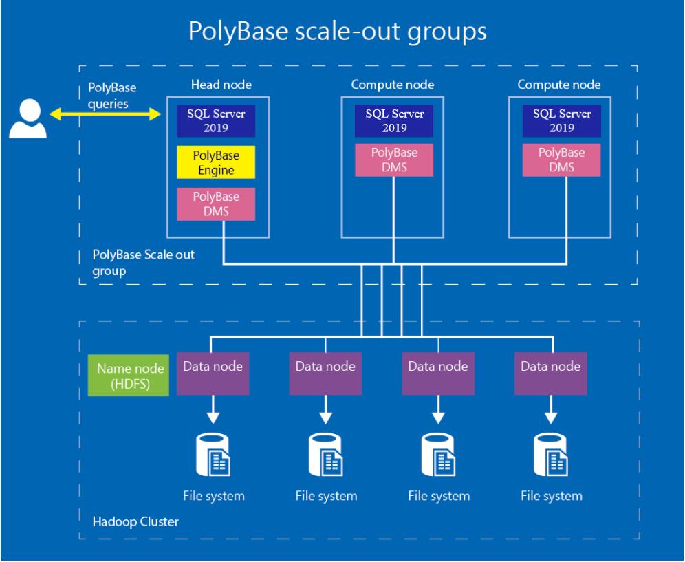顯示 PolyBase 向外延展群組的圖表。